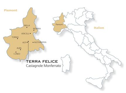 Piemont Weinbau Karte.Cascina Terra Felice Weinbau Gebiet